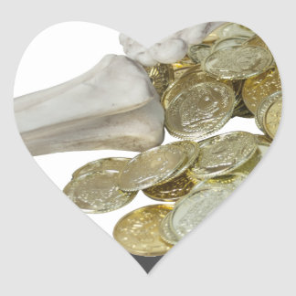 Copia SkeletonHandsGoldCoins081614 Pegatina En Forma De Corazón