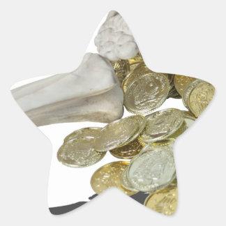 Copia SkeletonHandsGoldCoins081614 Pegatina En Forma De Estrella