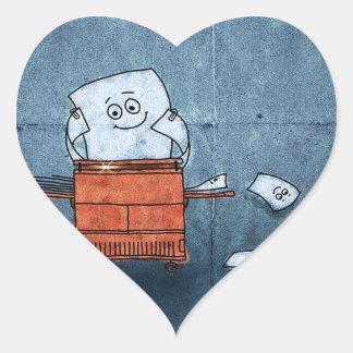 Copias de papel frescas abstractas del individuo pegatina en forma de corazón