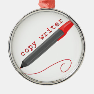 Copie al escritor adorno navideño redondo de metal