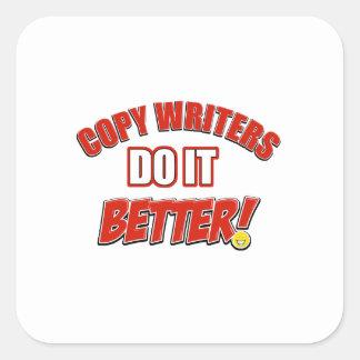 Copie los diseños de los escritores pegatina cuadrada