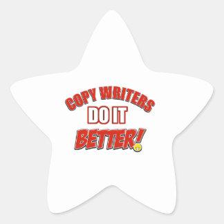 Copie los diseños de los escritores pegatina en forma de estrella