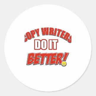 Copie los diseños de los escritores pegatina redonda