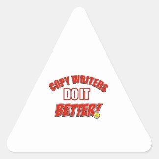 Copie los diseños de los escritores pegatina triangular