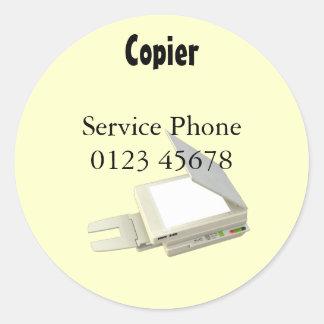 Copier service phone classic round sticker
