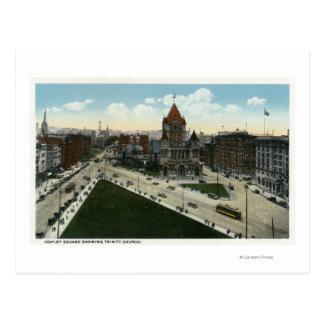 Copley Square View of Trinity Church Postcard
