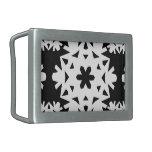 Copo de nieve 10 blanco y negro hebilla cinturón rectangular