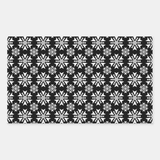 Copo de nieve 13 blanco y negro pegatina rectangular