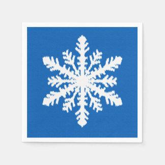 Copo de nieve 1 de Ikat de 4 - azul y blanco de Servilletas Desechables