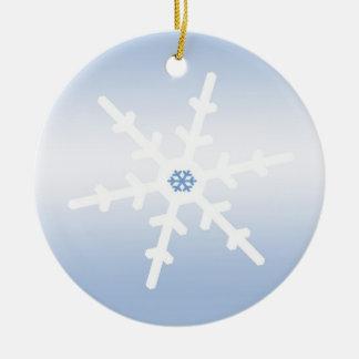 Copo de nieve adorno navideño redondo de cerámica