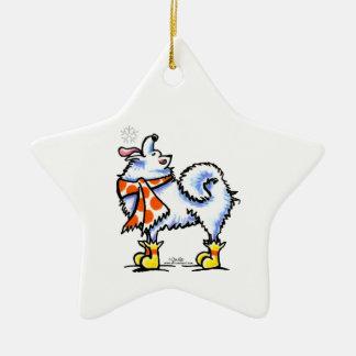 Copo de nieve americano del perro esquimal del adorno de cerámica en forma de estrella