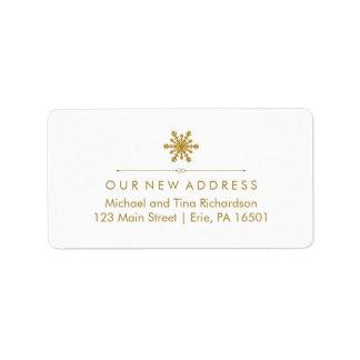 Copo de nieve atractivo del oro de la nueva etiquetas de dirección