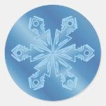 Copo de nieve azul 5 etiquetas redondas