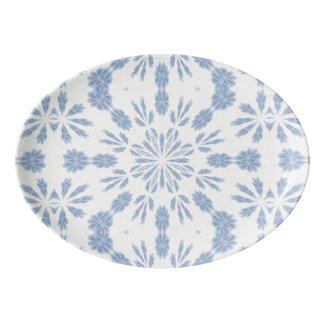 Copo de nieve azul badeja de porcelana