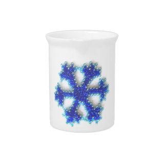 Copo de nieve azul de la gota jarra