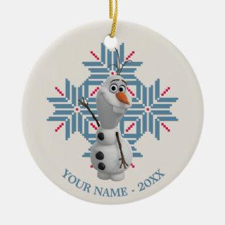 Copo de nieve azul de Olaf el | personalizado Adorno Navideño Redondo De Cerámica