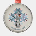 Copo de nieve azul de Olaf el | personalizado Adorno Navideño Redondo De Metal