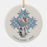 Copo de nieve azul de Olaf personalizado Adorno De Navidad