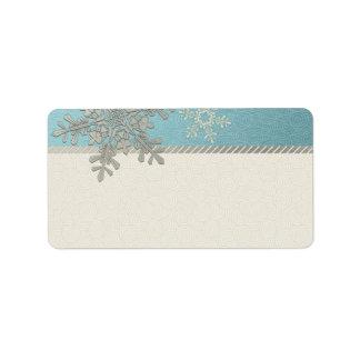 Copo de nieve azul de plata que casa etiquetas de etiquetas de dirección