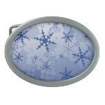 Copo de nieve azul hebilla cinturón oval