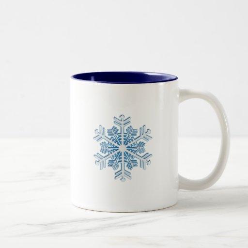 Copo de nieve azul helado clásico del navidad del  tazas