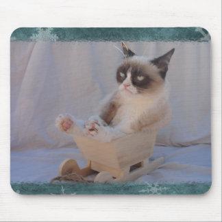 Copo de nieve azul Mousepad del gato gruñón