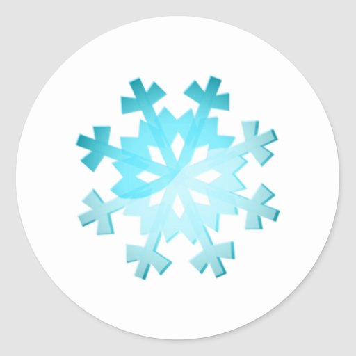 Copo de nieve azul pegatina redonda