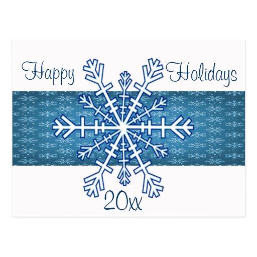 Copo de nieve azul y blanco postales