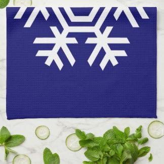 Copo de nieve blanco de la decoración estacional toalla de cocina
