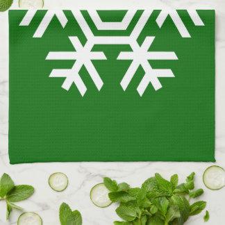 Copo de nieve blanco de la decoración estacional toalla de mano