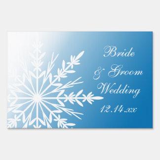 Copo de nieve blanco en el invierno azul que casa cartel