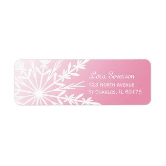 Copo de nieve blanco en remite rosado etiqueta de remitente