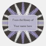 Copo de nieve Bookplates-Púrpura blanco negro Pegatinas Redondas