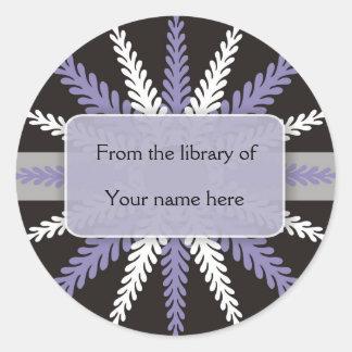 Copo de nieve Bookplates-Púrpura blanco negro Pegatina Redonda