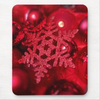 Copo de nieve brillante rojo tapetes de raton