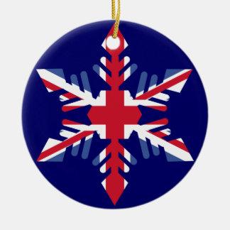 Copo de nieve británico adorno redondo de cerámica