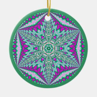 Copo de nieve caleidoscópico Ornament.5 Adorno Redondo De Cerámica