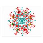 Copo de nieve colorido postal