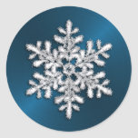 Copo de nieve cristalino de plata en trullo pegatinas redondas