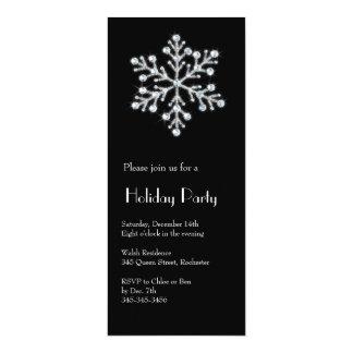 """Copo de nieve cristalino (negro) invitación 4"""" x 9.25"""""""