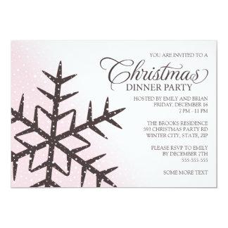 """Copo de nieve de Brown pálido - fiesta de cena Invitación 5"""" X 7"""""""