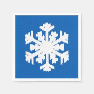 Copo de nieve de Ikat - azul y blanco de cobalto Servilletas Desechables
