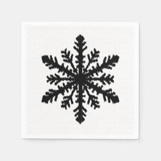 Copo de nieve de Ikat - blanco y negro Servilletas De Papel