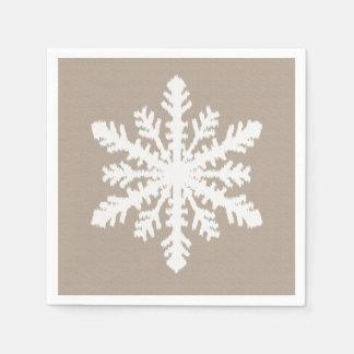 Copo de nieve de Ikat - moreno de color topo y Servilleta Desechable