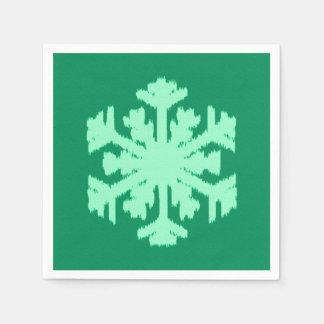 Copo de nieve de Ikat - pino y verde menta Servilletas Desechables
