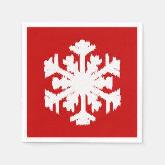 Copo de nieve de Ikat - rojo oscuro y blanco Servilletas De Papel
