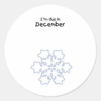Copo de nieve de la deuda en diciembre pegatina redonda