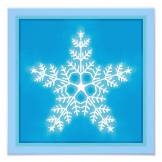 Copo de nieve de la estrella del azul y del blanco fotografías