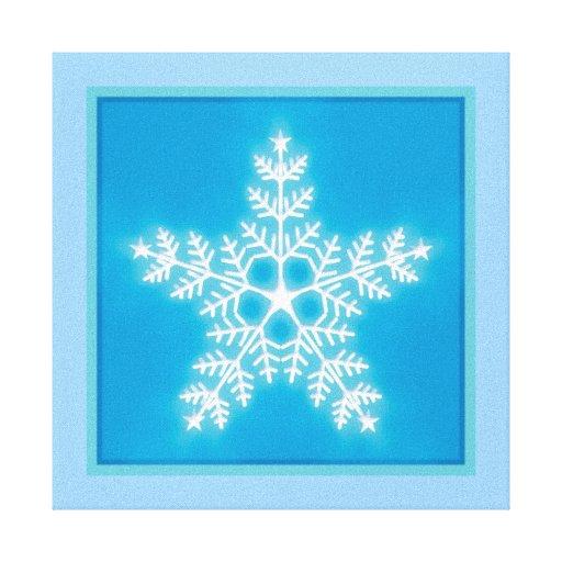 Copo de nieve de la estrella del azul y del blanco impresion de lienzo