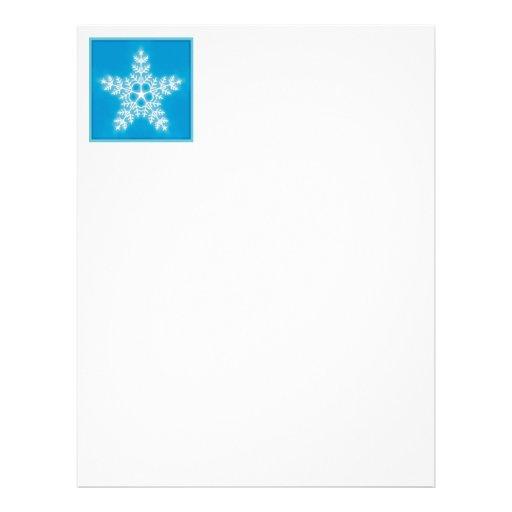 Copo de nieve de la estrella del azul y del blanco membrete